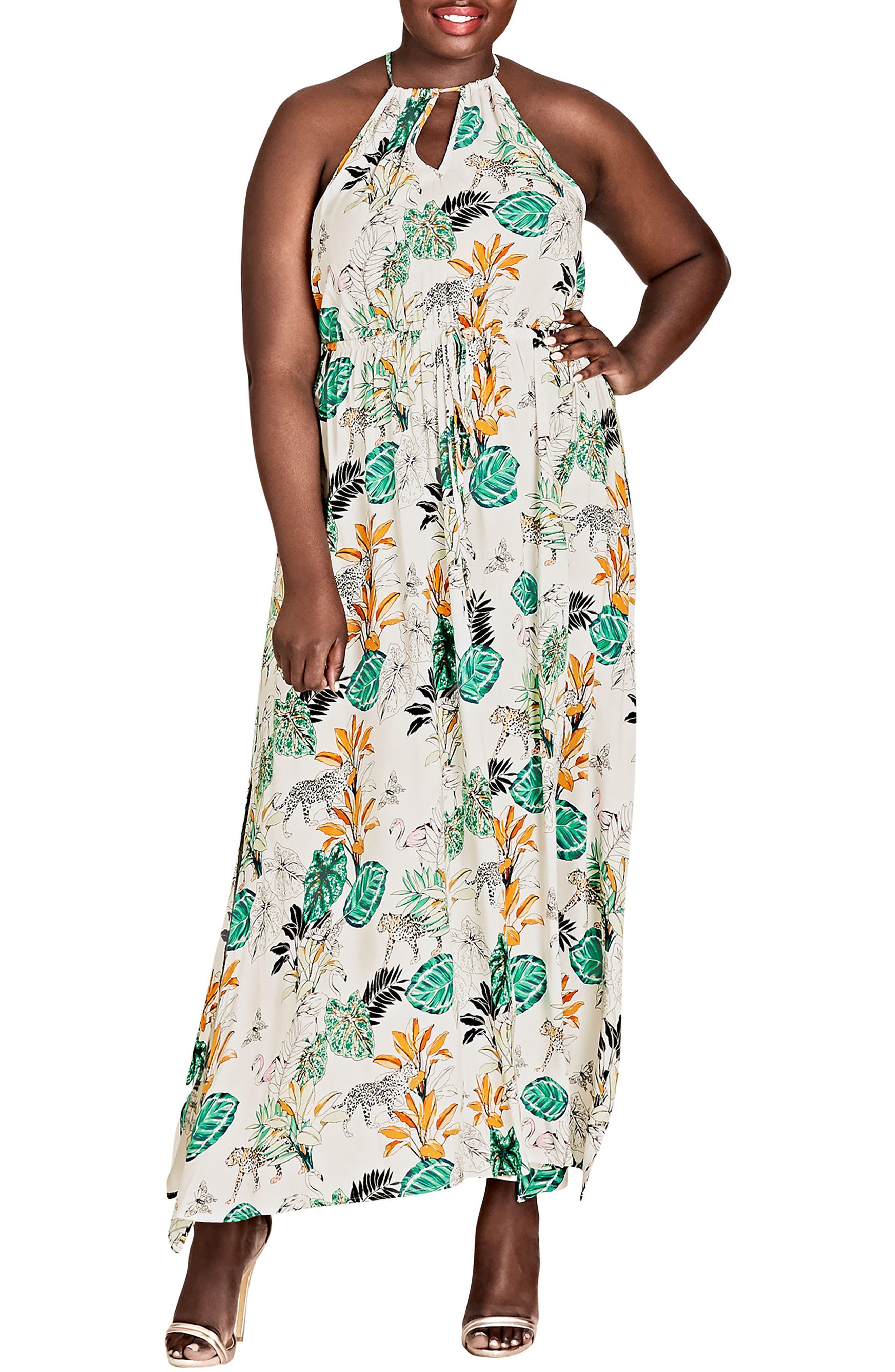 Jungle Study Drawstring Maxi Dress, Main, color, JUNGLE STUDY
