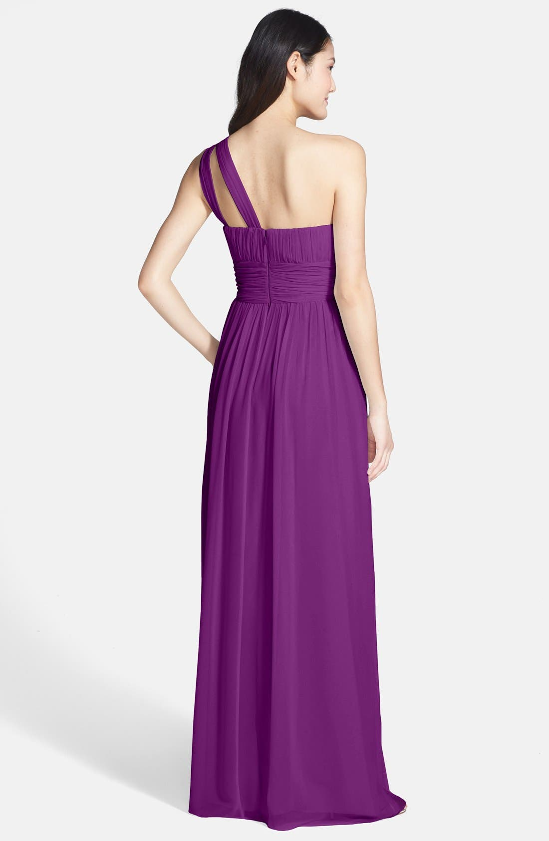 ,                             'Rachel' Ruched One-Shoulder Chiffon Gown,                             Alternate thumbnail 88, color,                             516