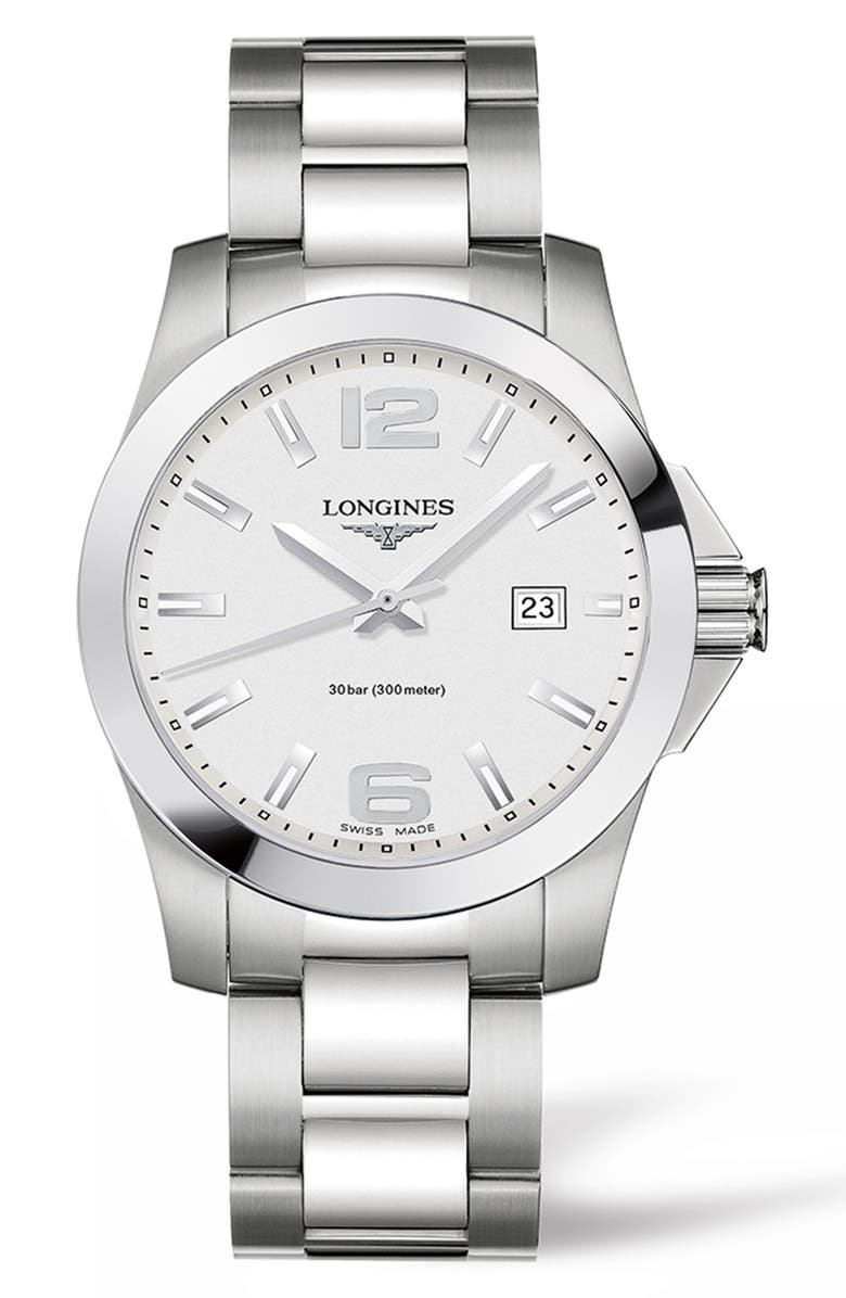 LONGINES Conquest Bracelet Watch, 41mm, Main, color, SILVER