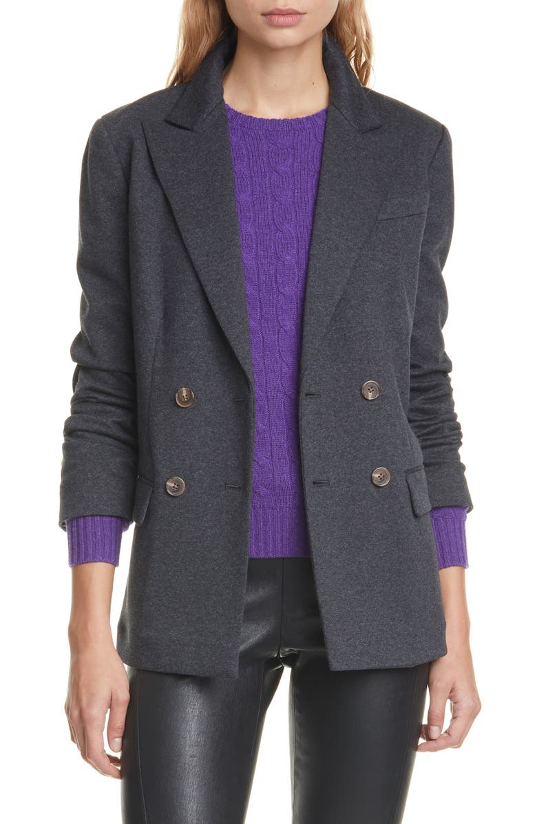 POLO RALPH LAUREN Double Breasted Flannel Blazer, Main, color, ONYX HEATHER
