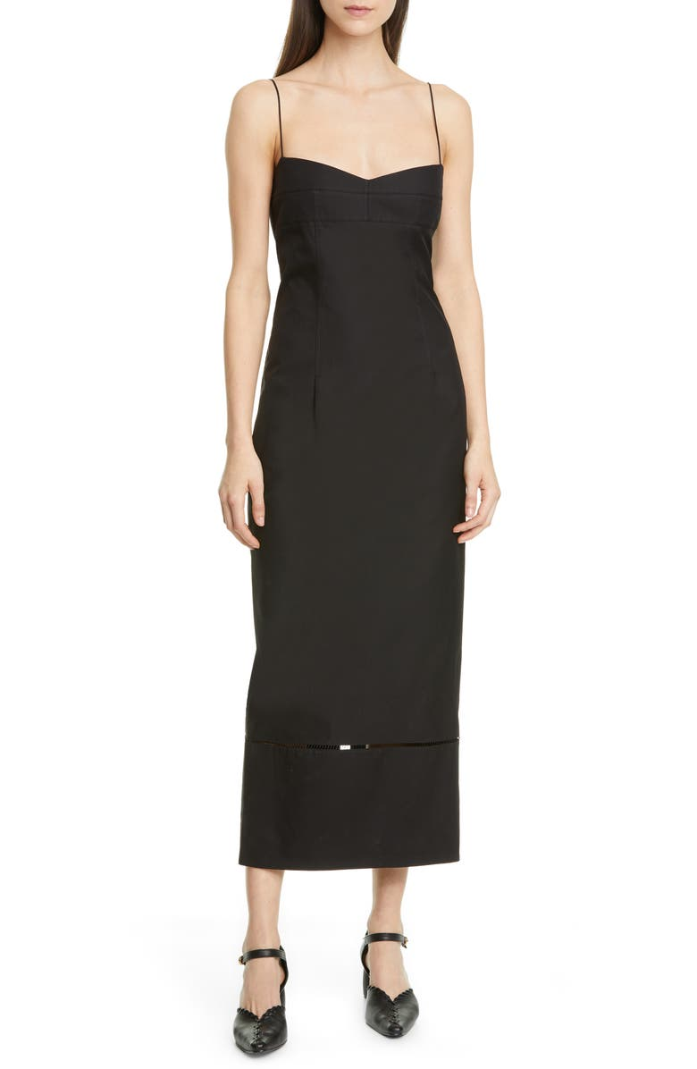 KHAITE Deirdre Cotton Twill Midi Dress, Main, color, BLACK