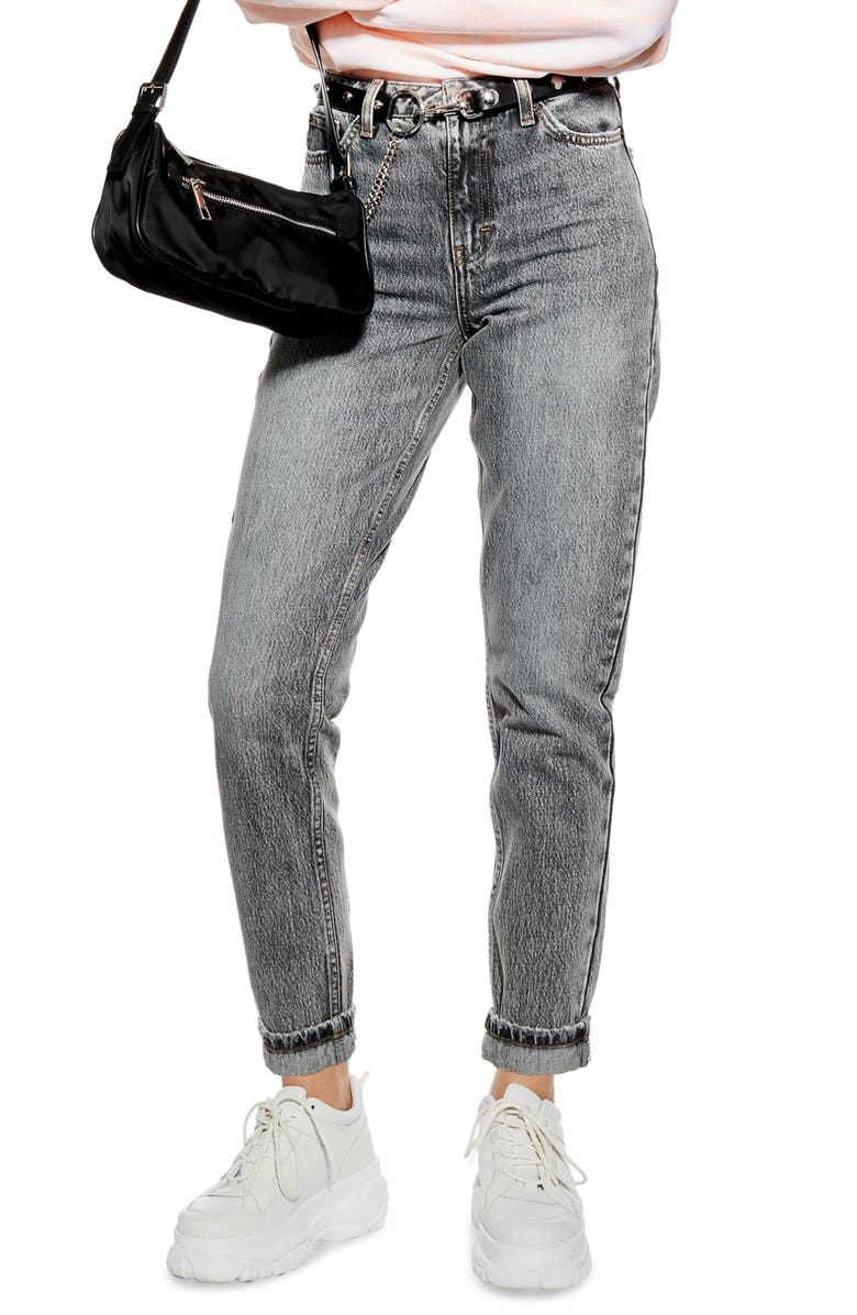 TOPSHOP Mom High Waist Jeans, Main, color, GREY