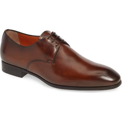 Santoni Induct Plain Toe Derby, Brown