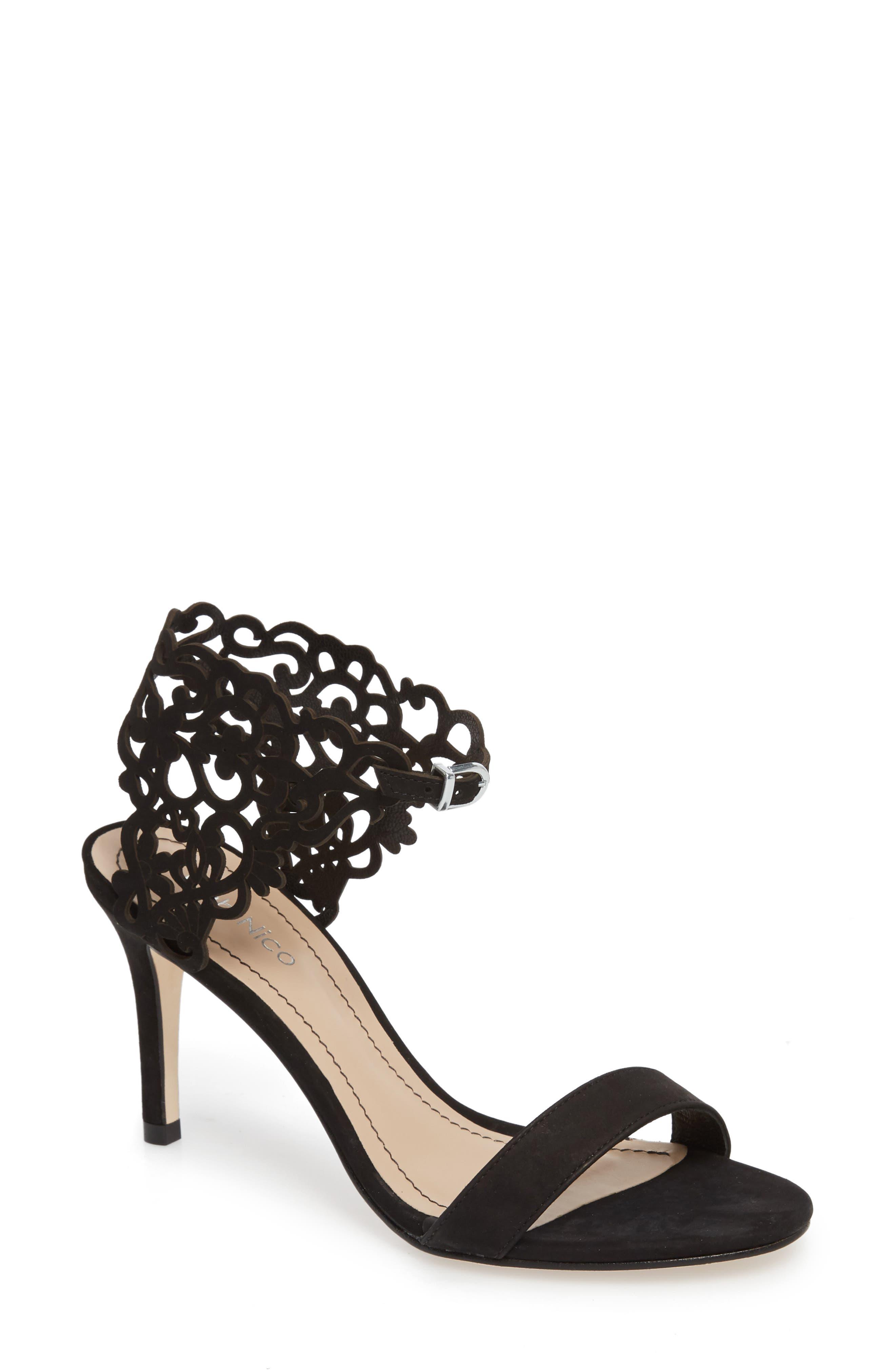 Adira Laser Cut Sandal, Main, color, BLACK LEATHER