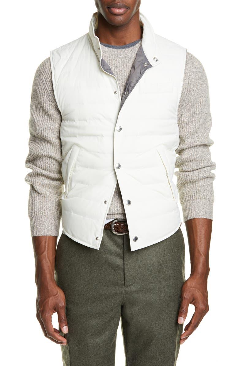 BRUNELLO CUCINELLI Down Vest, Main, color, OFF WHITE