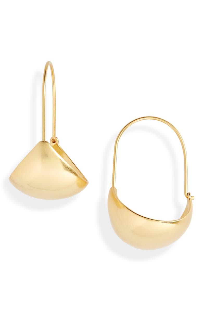 MADEWELL Basket Hoop Earrings, Main, color, VINTAGE GOLD