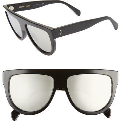 Celine 5m Universal Fit Flat Top Sunglasses - Shiny Black/ Smoke Mirror