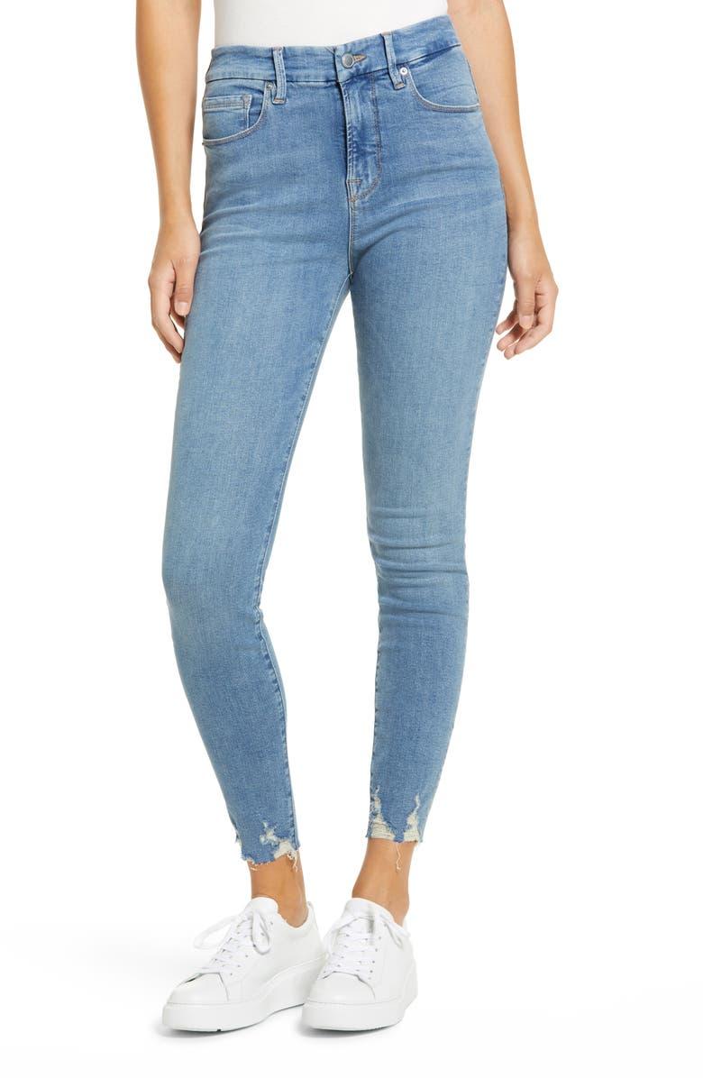 Good American Good Legs High Waist Raw Hem Skinny Jeans