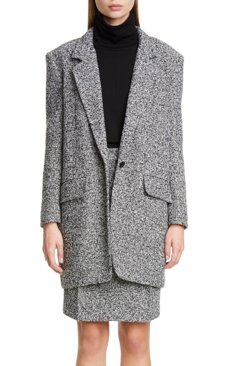 MAX MARA Matassa Wool Blend Tweed Coat, Main, color, BLACK