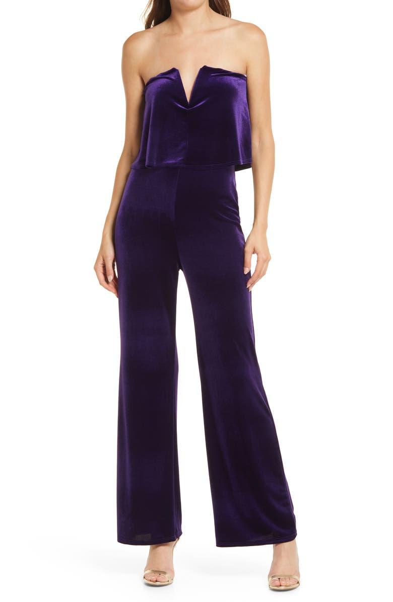 LULUS Power of Love Velvet Strapless Jumpsuit, Main, color, PURPLE