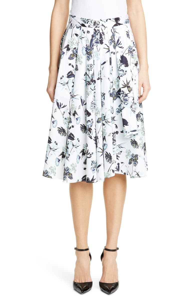 JASON WU COLLECTION Floral Print Cotton Skirt, Main, color, 151