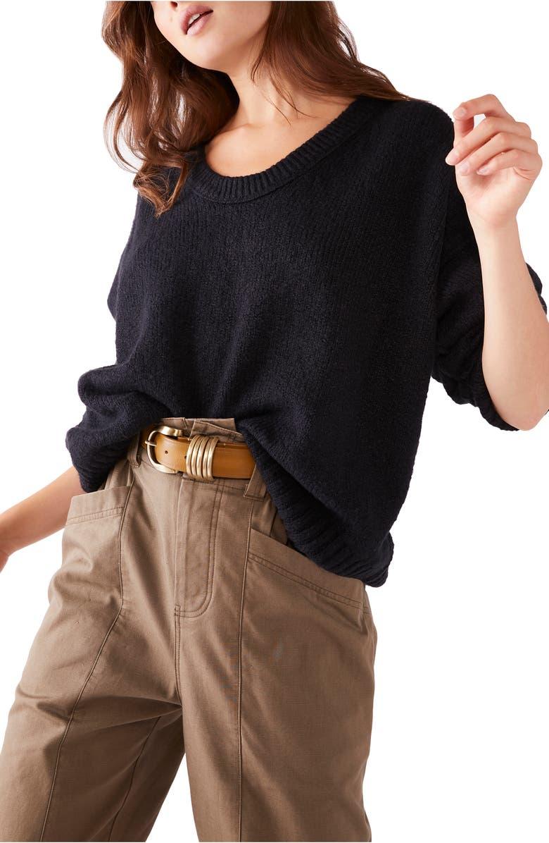 FREE PEOPLE Brookside Sweater, Main, color, BLACK