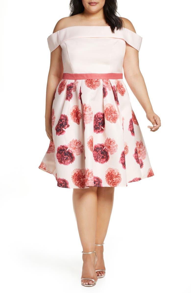 CHI CHI LONDON Curve Jess Off the Shoulder Fit & Flare Dress, Main, color, PINK