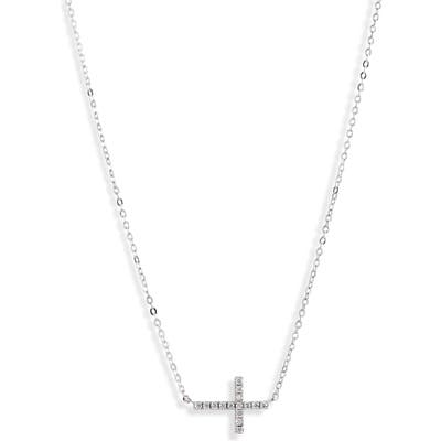 Nordstrom Cubic Zirconia Horizontal Cross Necklace