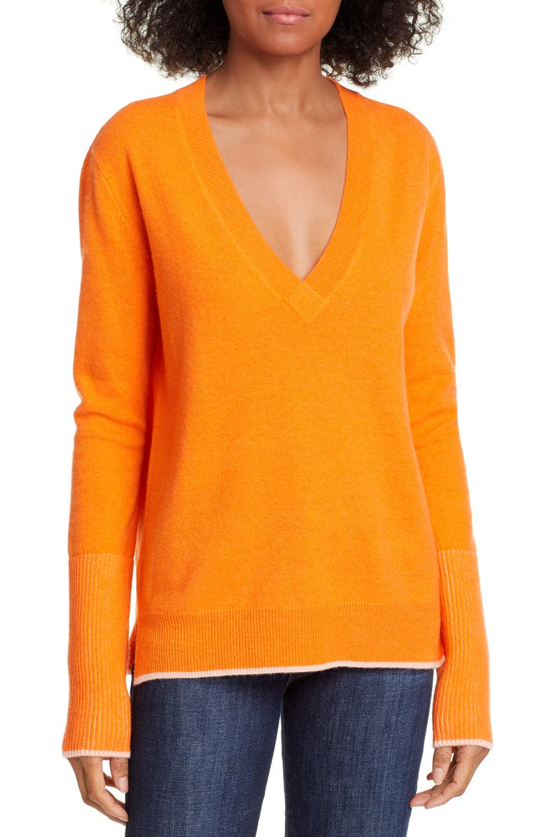 LA LIGNE Wool & Cashmere V-Neck Sweater, Main, color, ORANGE/ PEACH