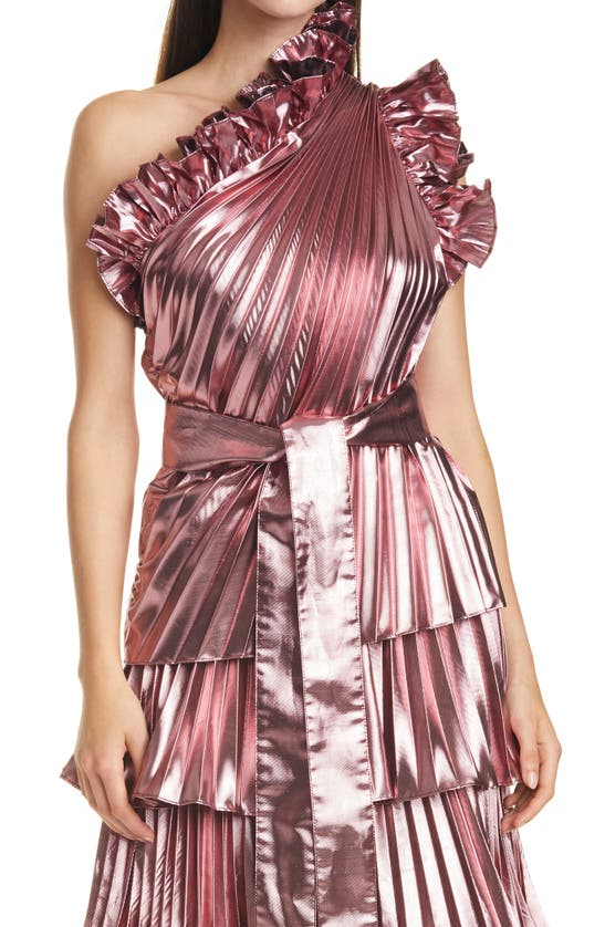Tanya Taylor Tanya Talyor Chantal One-shoulder Pleated Metallic Top In Flamingo Pink