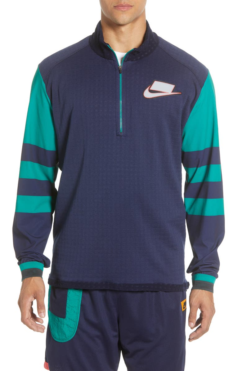 NIKE Wild Run Quarter Zip Mid Layer Pullover, Main, color, BLACKENED BLUE/ SILVER