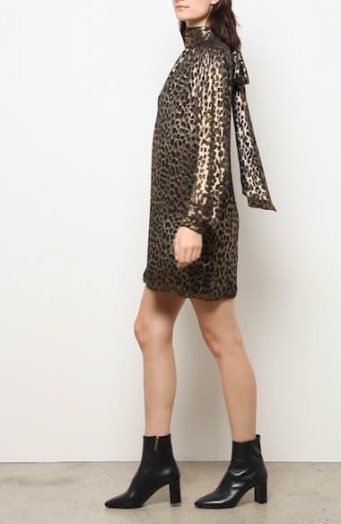 Lamé Leopard Burnout Long Sleeve Silk Blend Shift Dress, video thumbnail