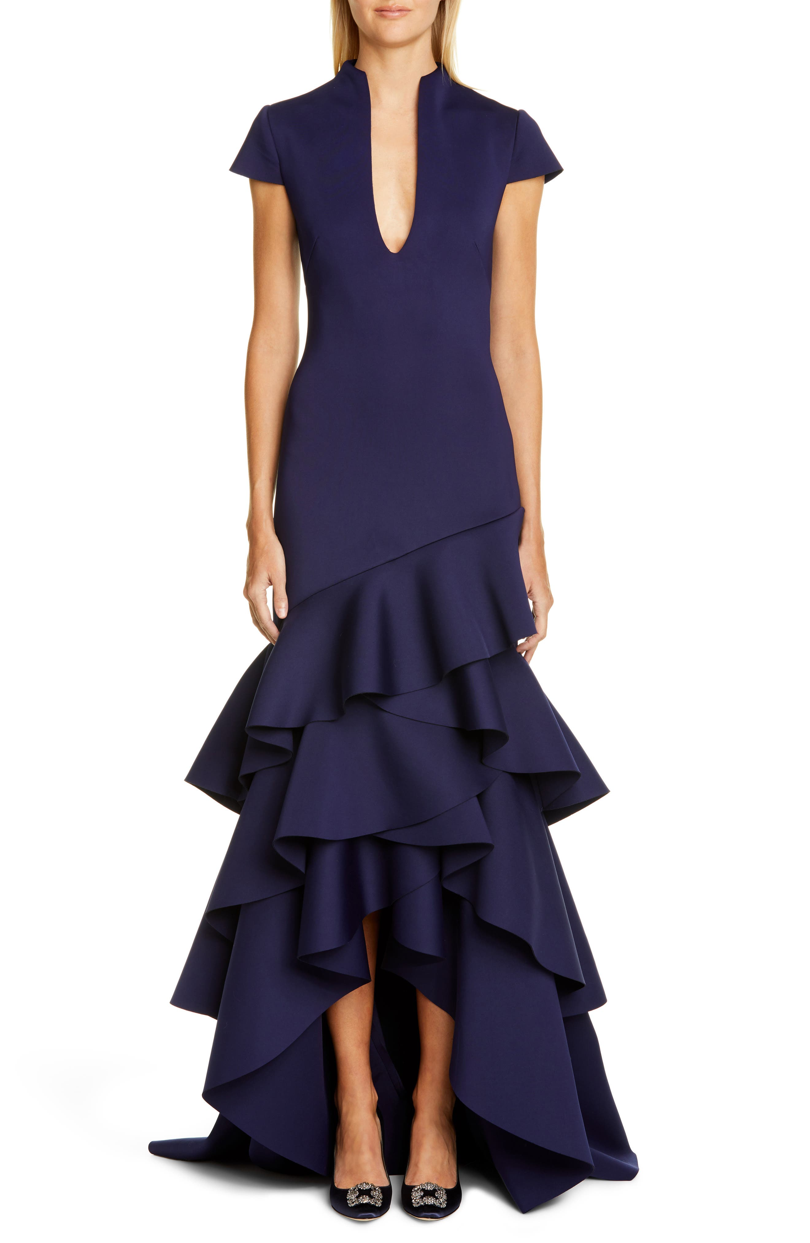 Badgley Mischka Short Sleeve Ruffle Evening Dress, Blue