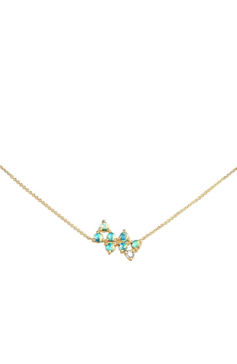 WWAKE Opal & Diamond Bias Necklace, Main, color, OPAL AND WHITE DIAMOND