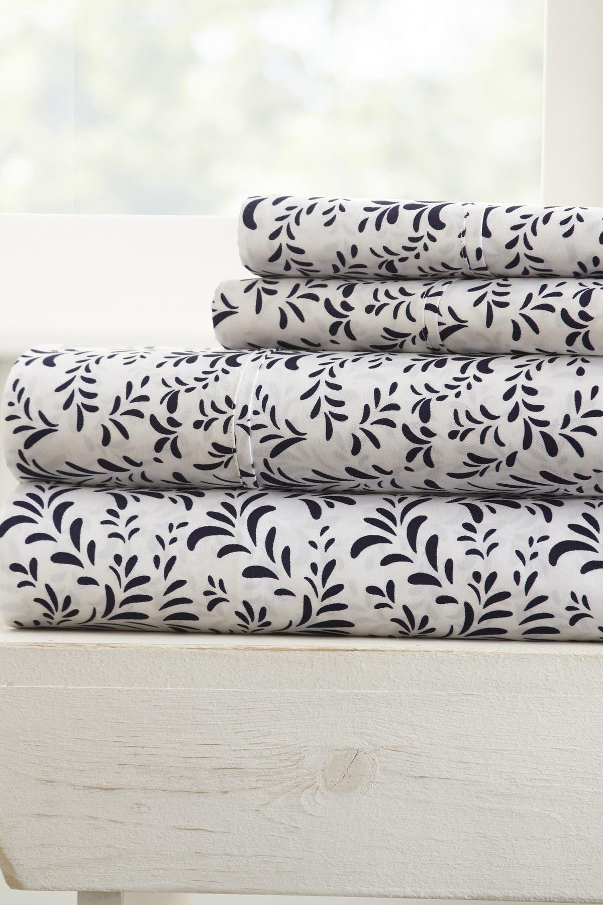 IENJOY HOME Home Spun Premium Ultra Burst of Vines Pattern 4-Piece California King Bed Sheet Set - Navy at Nordstrom Rack