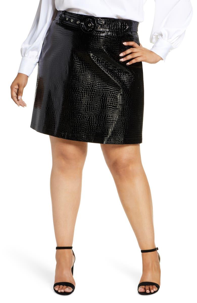 ELOQUII R29 x ELOQUII Croc Embossed Short Skirt, Main, color, 001