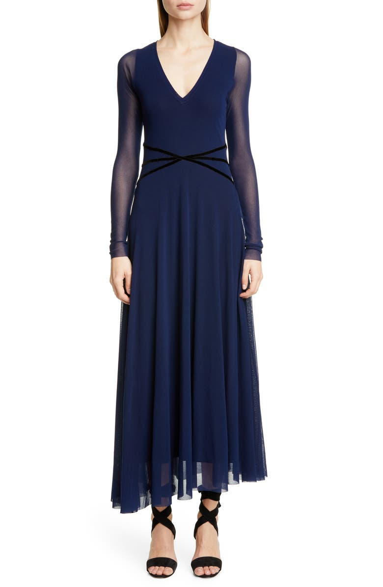 FUZZI Velvet Detail Long Sleeve Asymmetrical Maxi Dress, Main, color, IRIS