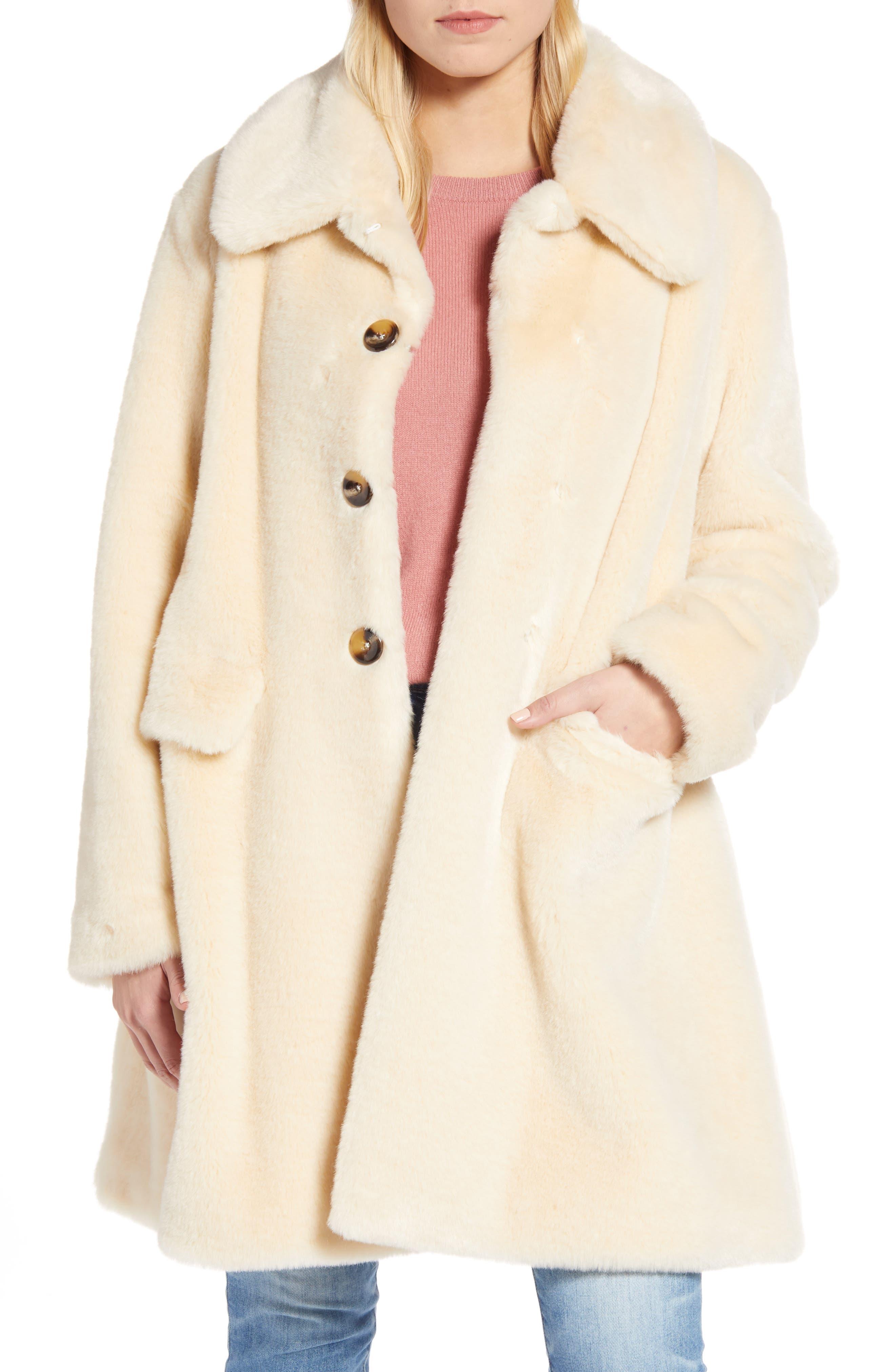 Gal Meets Glam Faux Fur Fit & Flare Coat