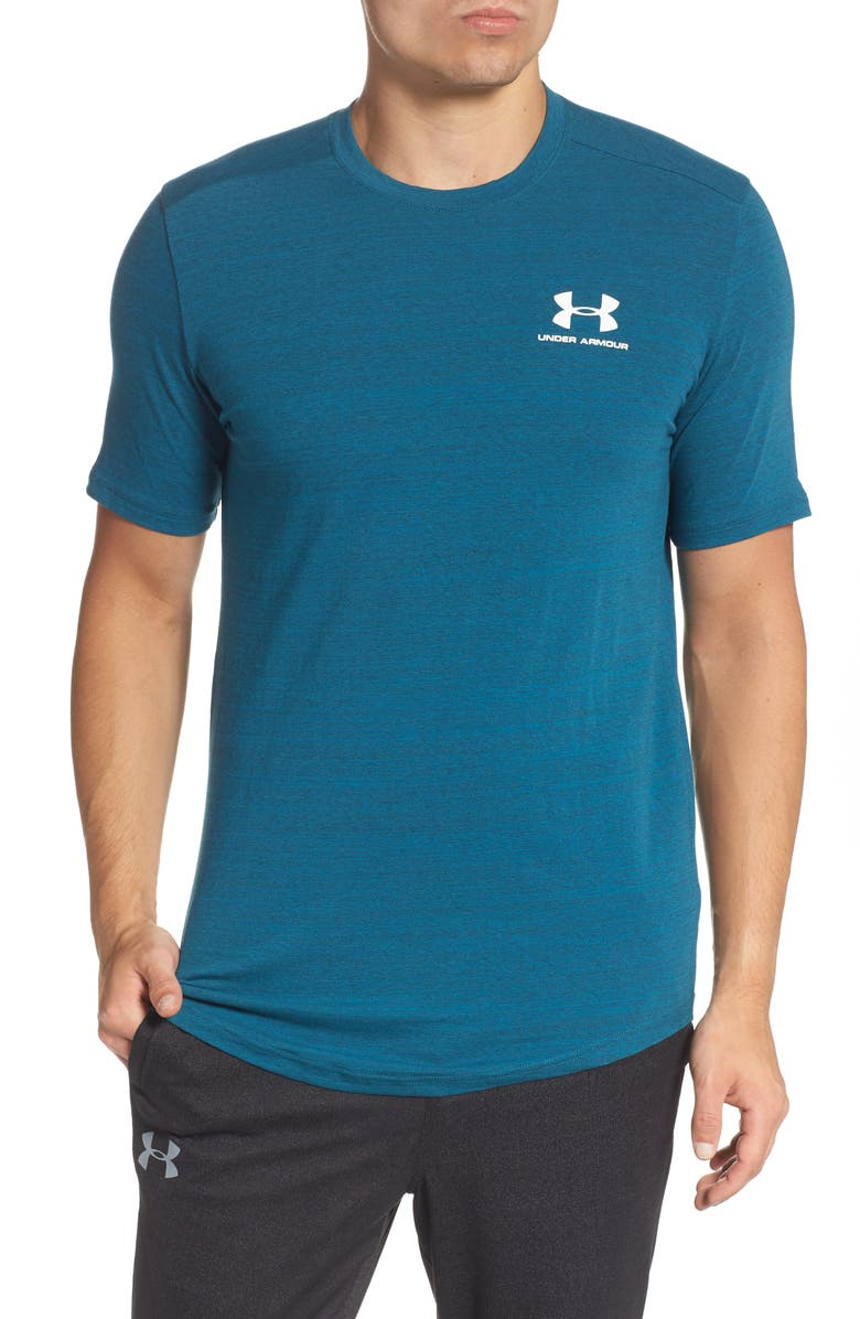 UNDER ARMOUR Sportstyle Essential Performance T-Shirt, Main, color, TEAL VIBE/ WHITE