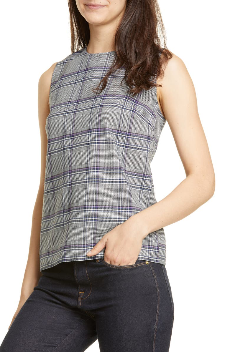 LEWIT Sleeveless Plaid Shell, Main, color, 900