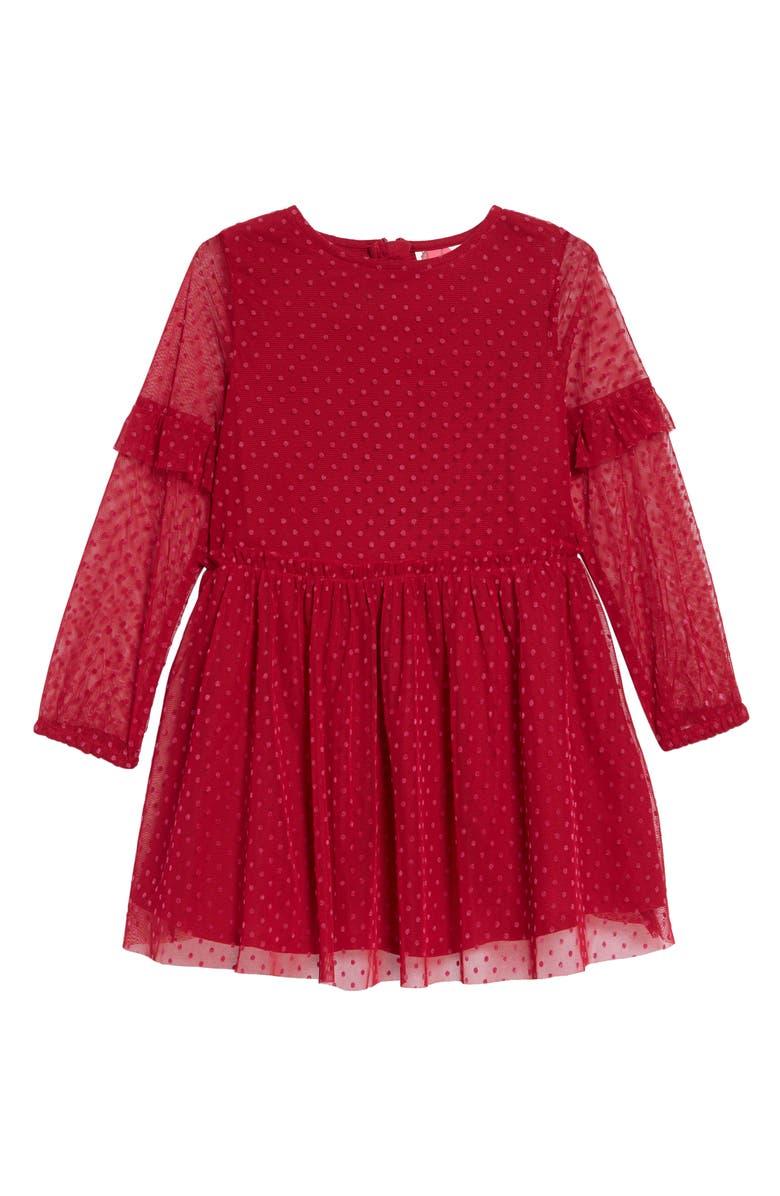 MINI BODEN Flocked Spot Party Dress, Main, color, 614