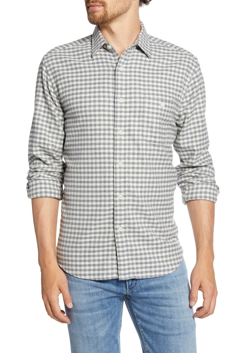 FAHERTY Stretch Seaview Regular Fit Check Flannel Button-Up Shirt, Main, color, CREAM CHARCOAL GINGHAM