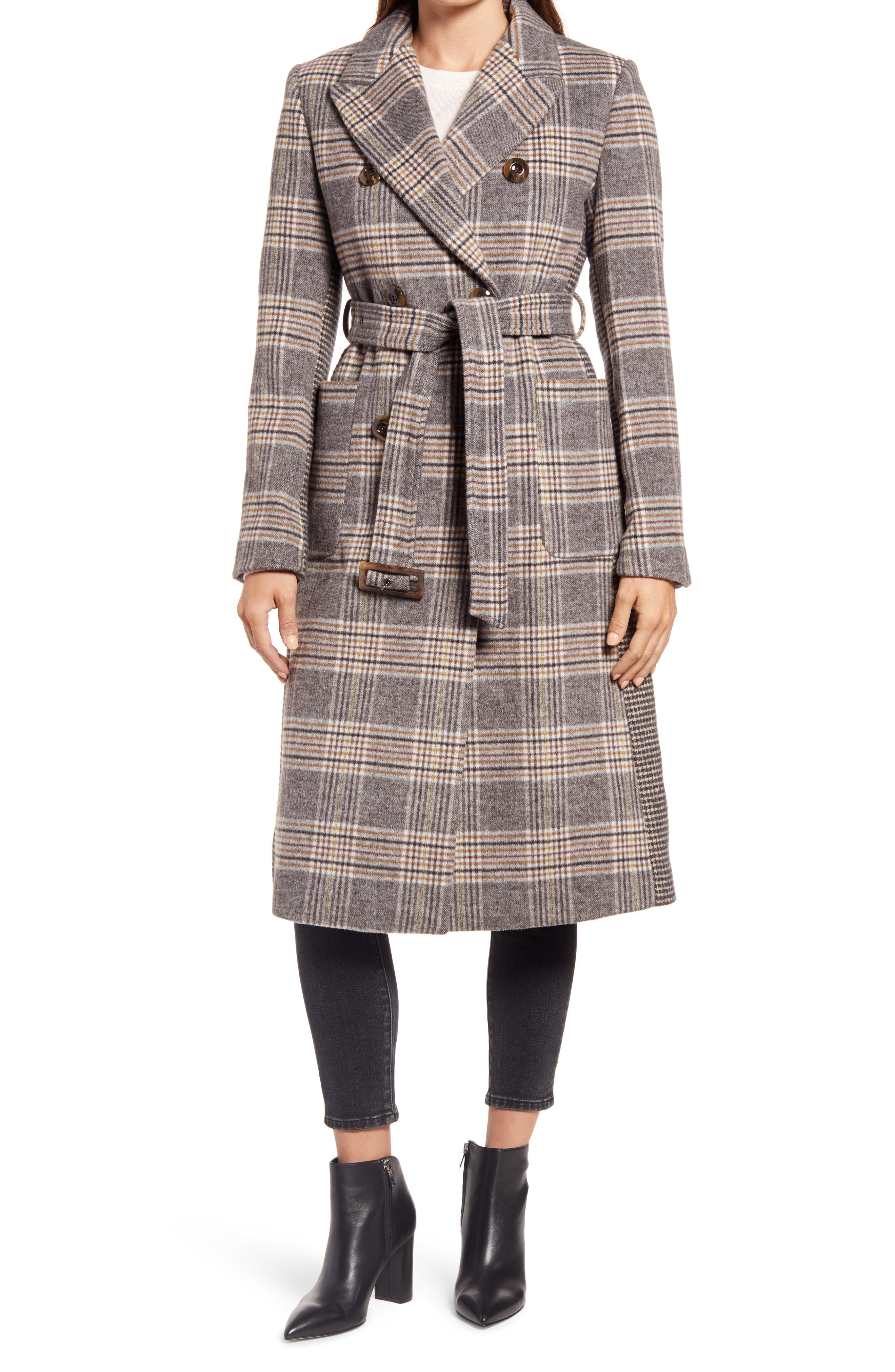 Mix Plaid Belted Wool Blend Coat