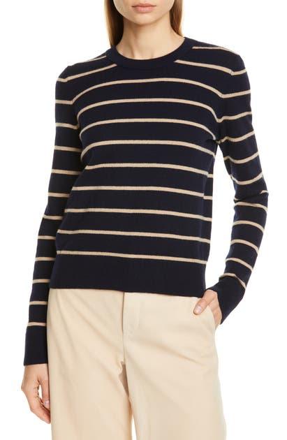 Vince Sweaters STRIPE CASHMERE CREWNECK SWEATER