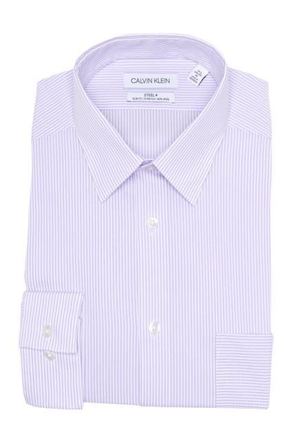 Image of Calvin Klein Stripe Print Slim Fit Dress Shirt