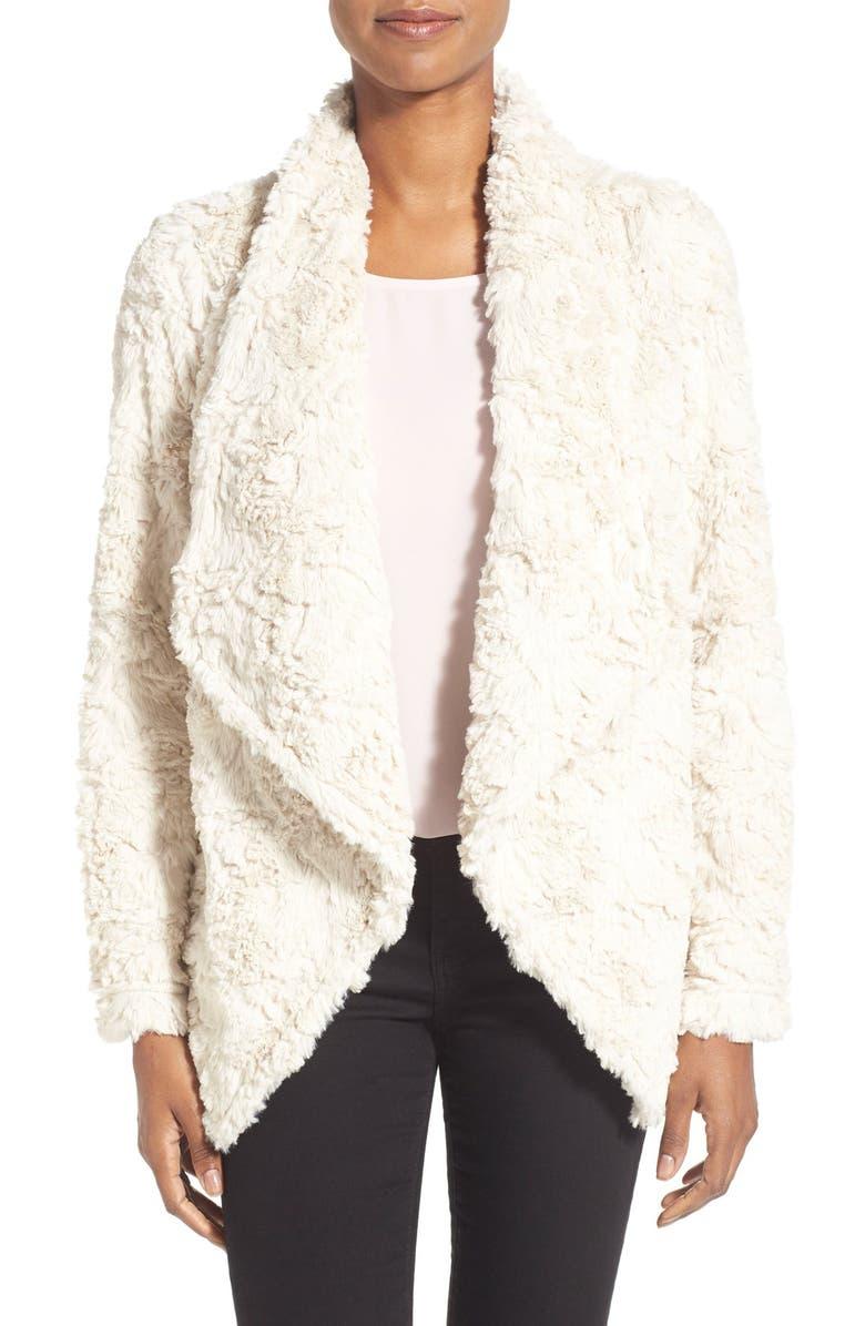 DYLAN Textured Faux Fur Drape Front Coat, Main, color, VINTAGE WHITE