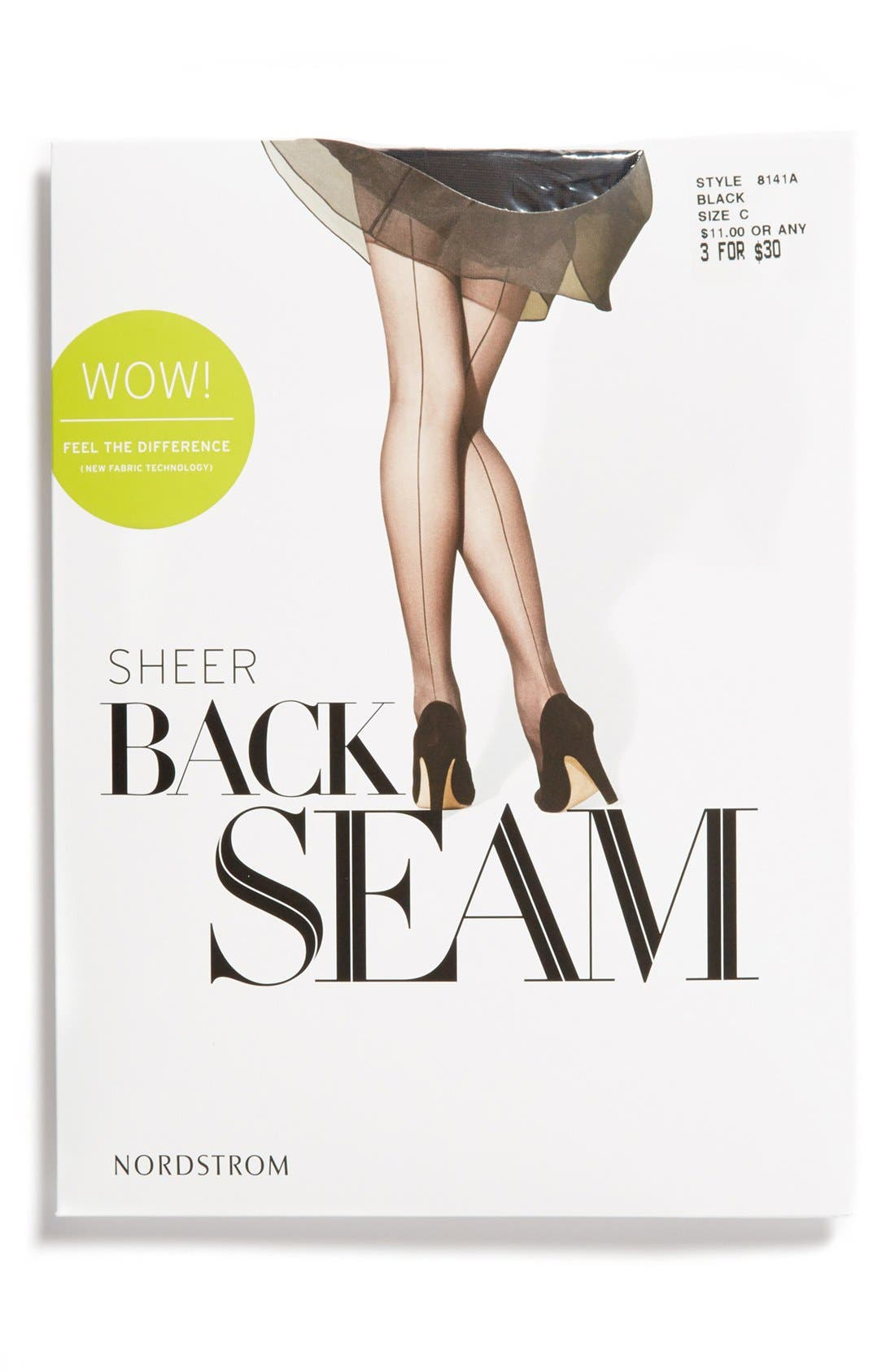 ,                             Back Seam Pantyhose,                             Alternate thumbnail 3, color,                             001