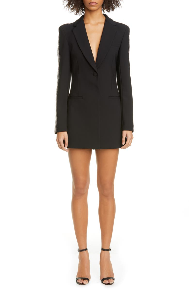 AREA Crystal Stripe Long Sleeve Blazer Minidress, Main, color, BLACK