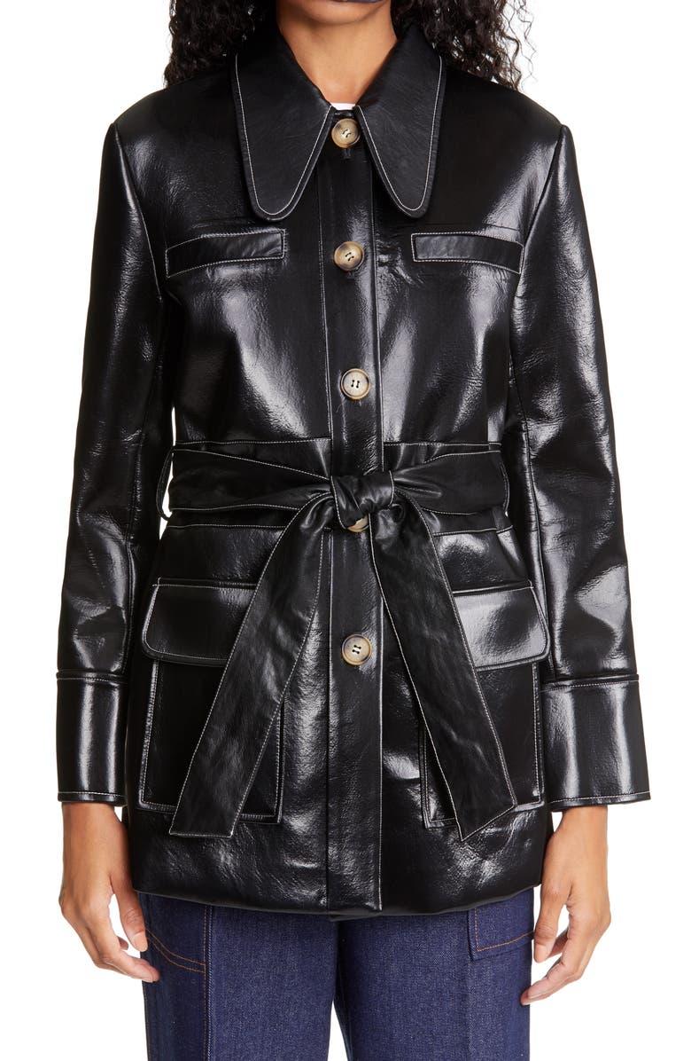 REJINA PYO Felix Belted Faux Leather Jacket, Main, color, BLACK