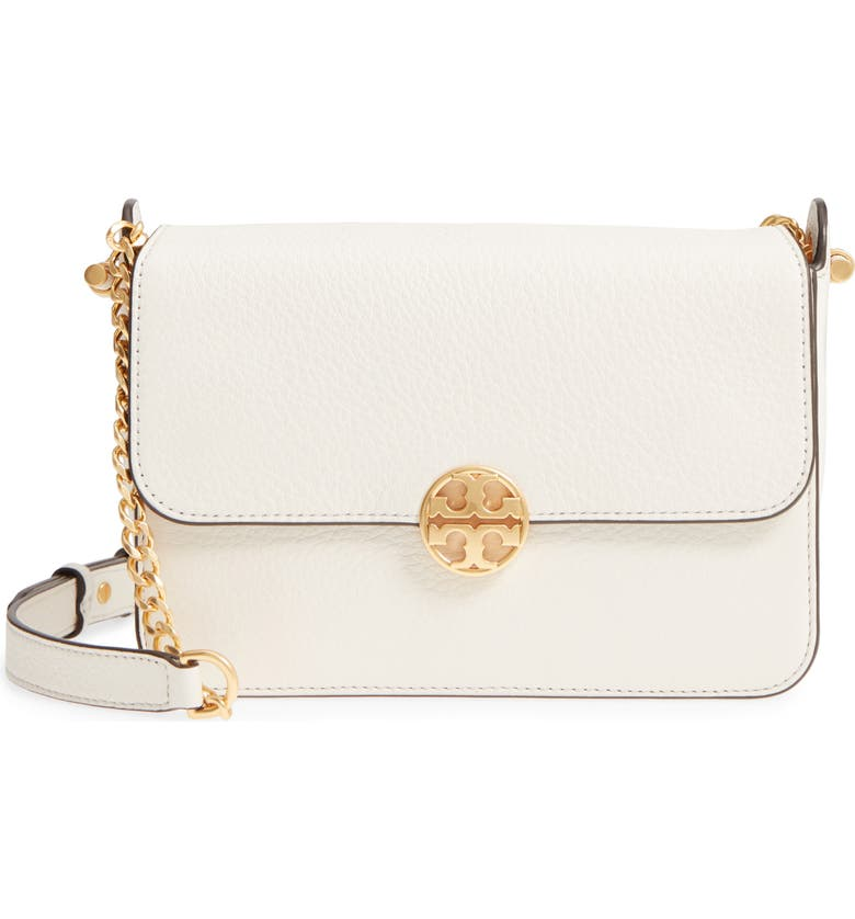 TORY BURCH Chelsea Leather Crossbody Bag, Main, color, NEW IVORY