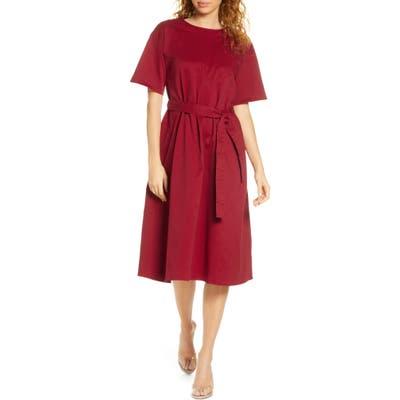 Caara Mabel Belted Shift Dress, Red