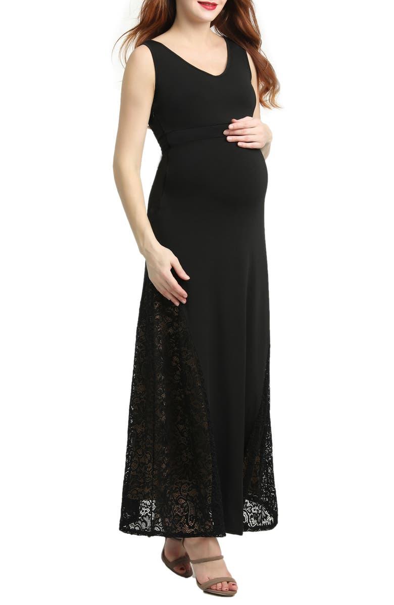 KIMI AND KAI Elizabeth Lace Maternity Maxi Dress, Main, color, BLACK