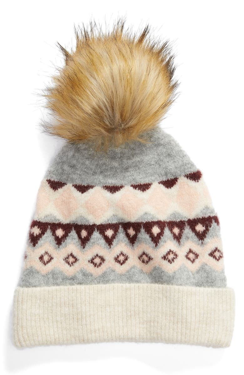 HALOGEN<SUP>®</SUP> x Atlantic-Pacific Fair Isle Faux Fur Pom Beanie, Main, color, 030