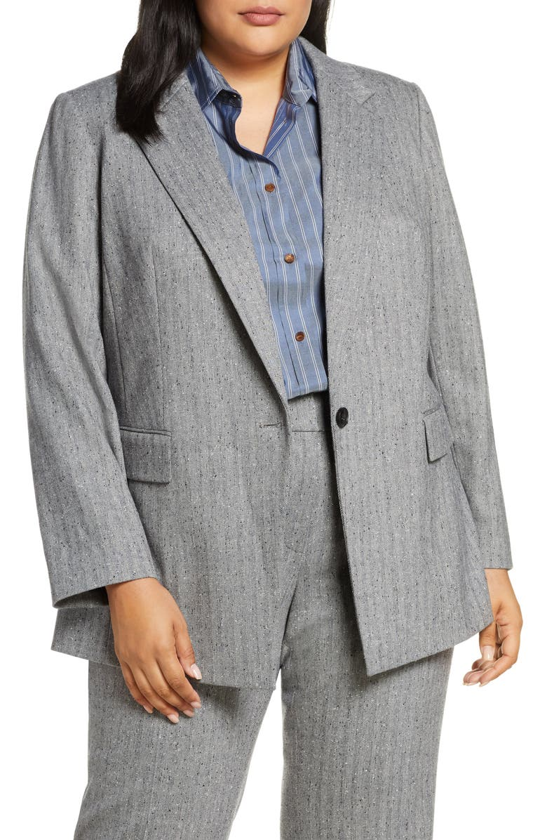 LAFAYETTE 148 NEW YORK Lafayette New York 148 New York Rhoda Wool Blend Herringbone Blazer, Main, color, BLACK MULTI