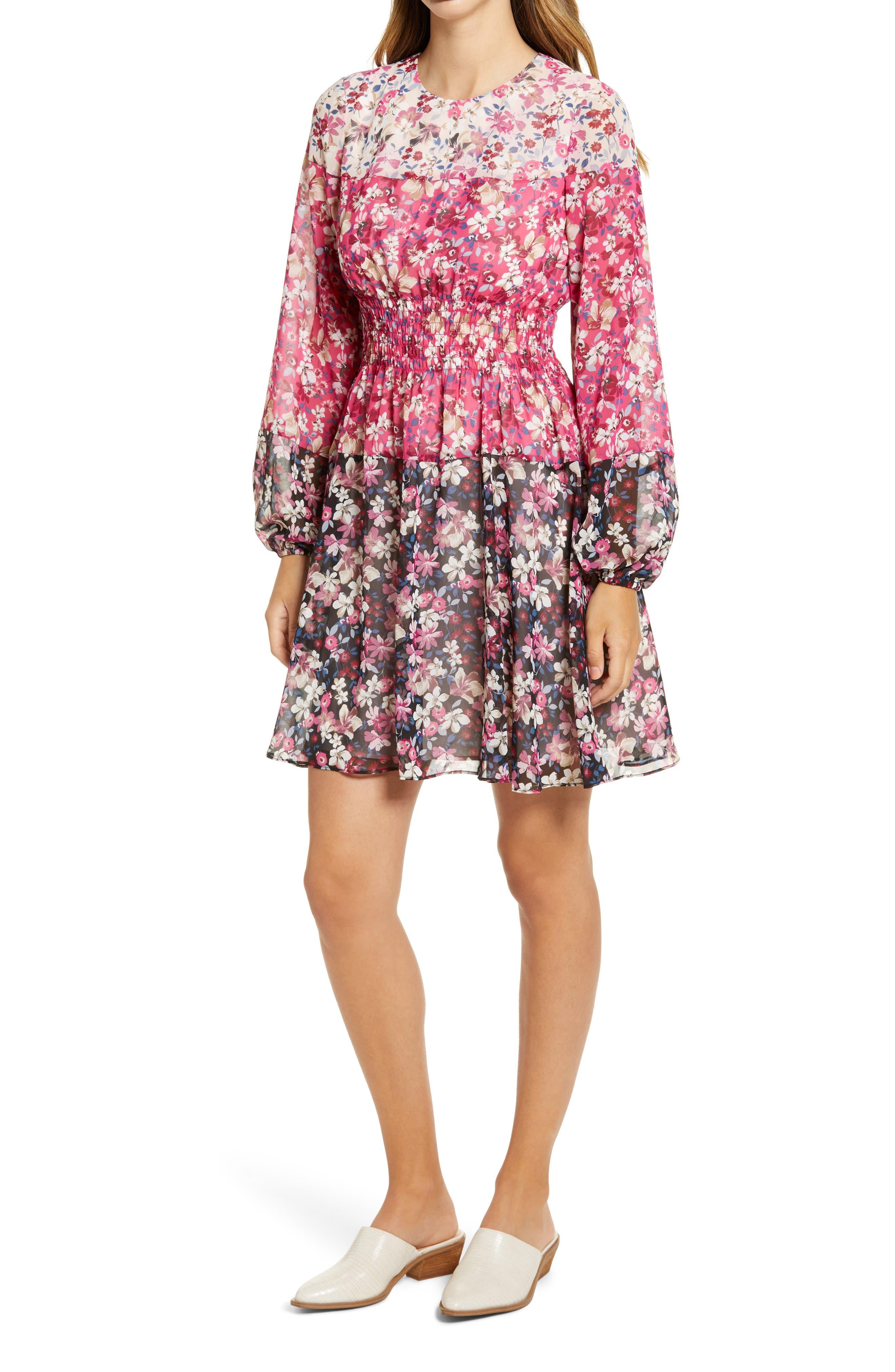 Image of Eliza J Colorblock Floral Smocked Waist Long Sleeve Dress