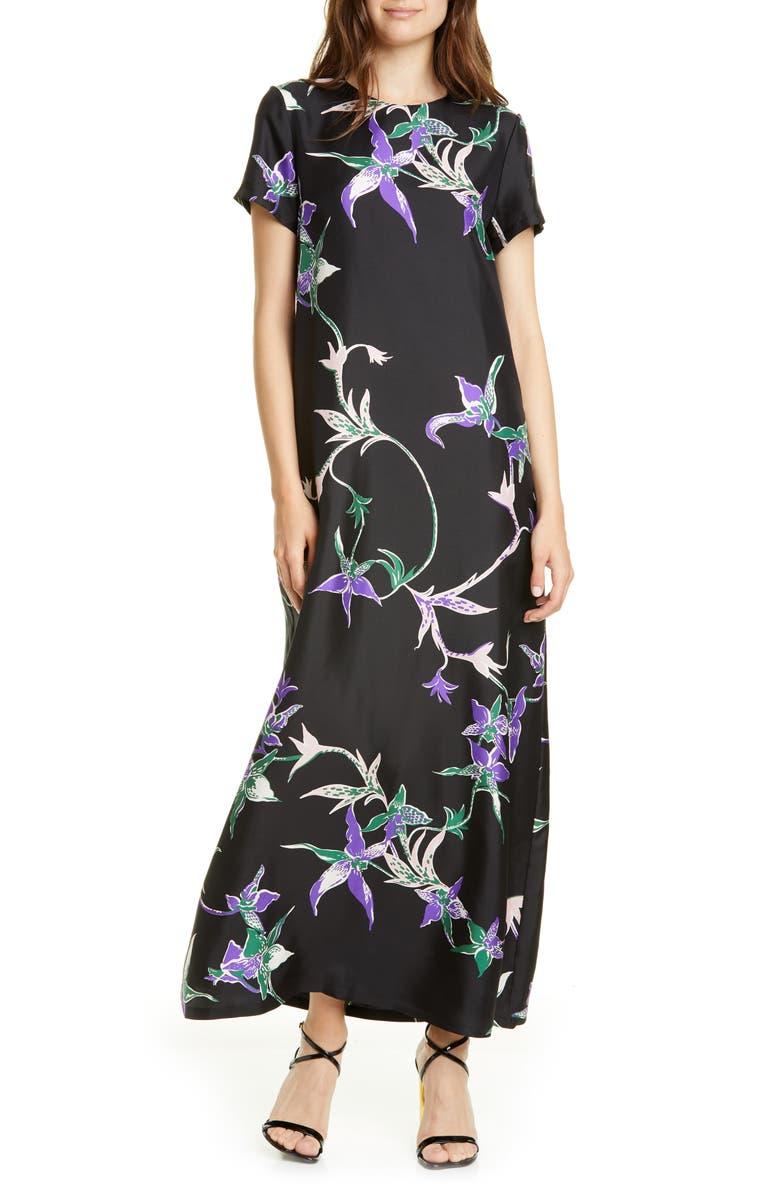 LA DOUBLEJ Swing Print Silk Dress, Main, color, ORCHIDEE NERO