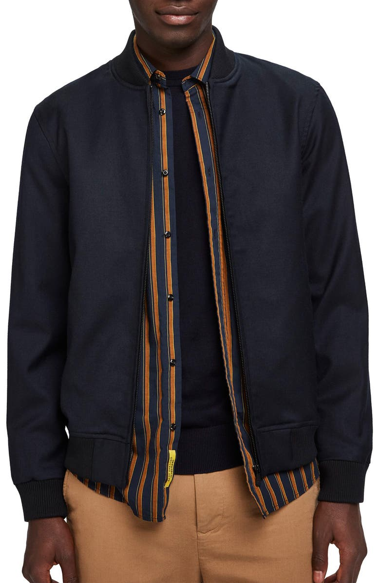 SCOTCH & SODA Chic Solid Bomber Jacket, Main, color, NIGHT