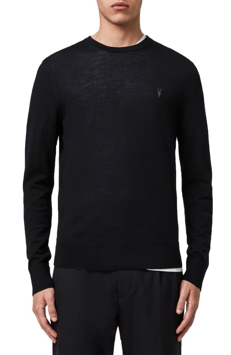 ALLSAINTS Mode Slim Fit Merino Wool Sweater, Main, color, BLACK