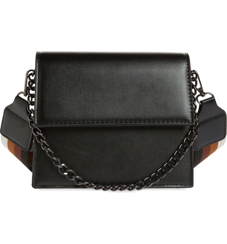 KNOTTY Two-Tone Chain Handle Crossbody Bag, Main, color, BLACK