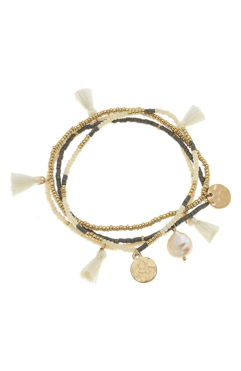 CANVAS JEWELRY Ava Set of 4 Beaded Stretch Bracelets, Main, color, GREY